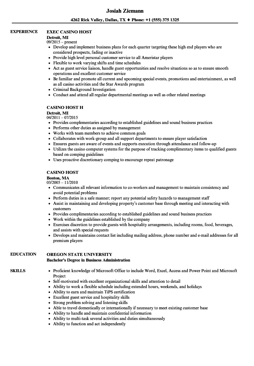 Casino Host Resume Samples  Velvet Jobs