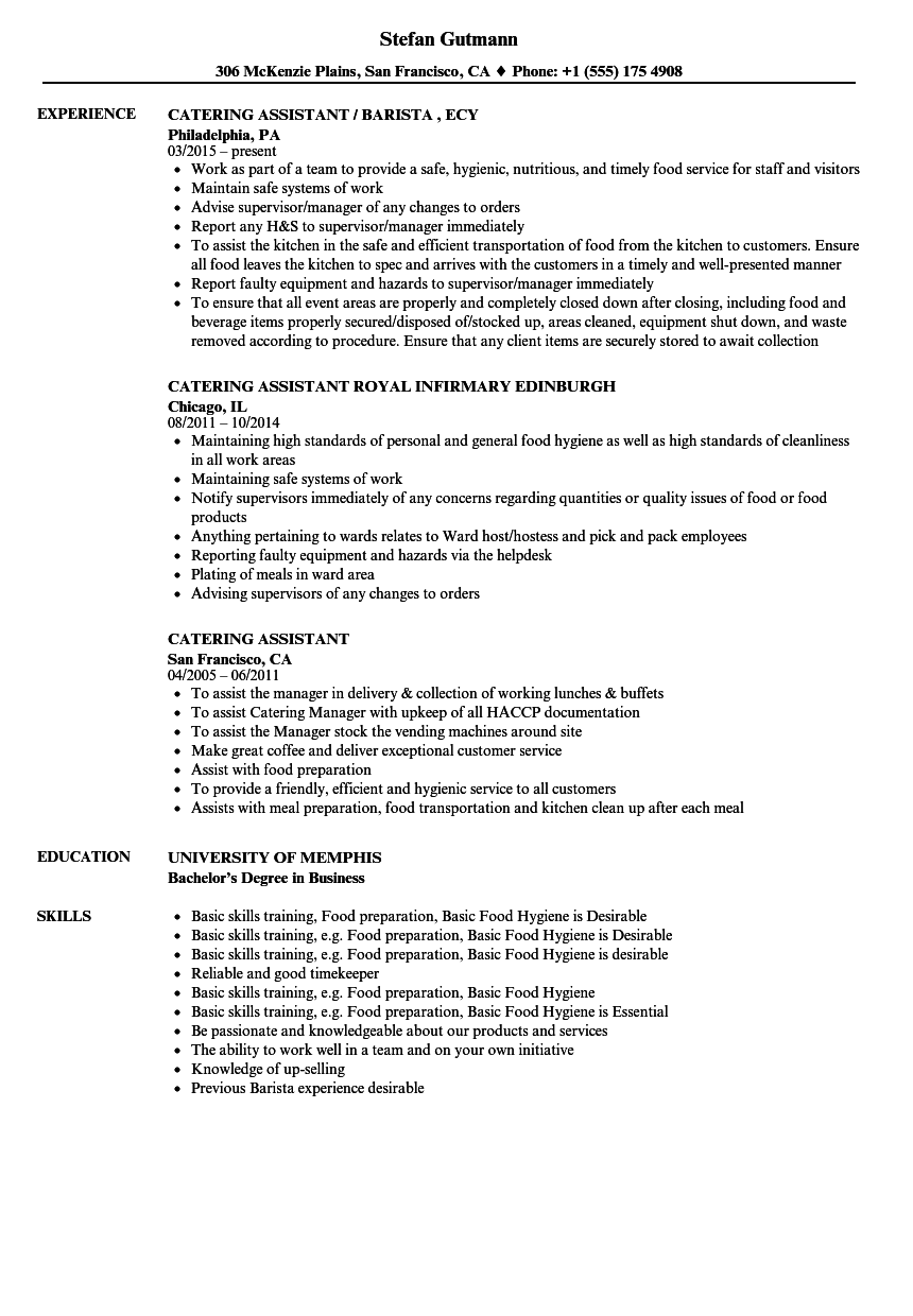 Catering Resume