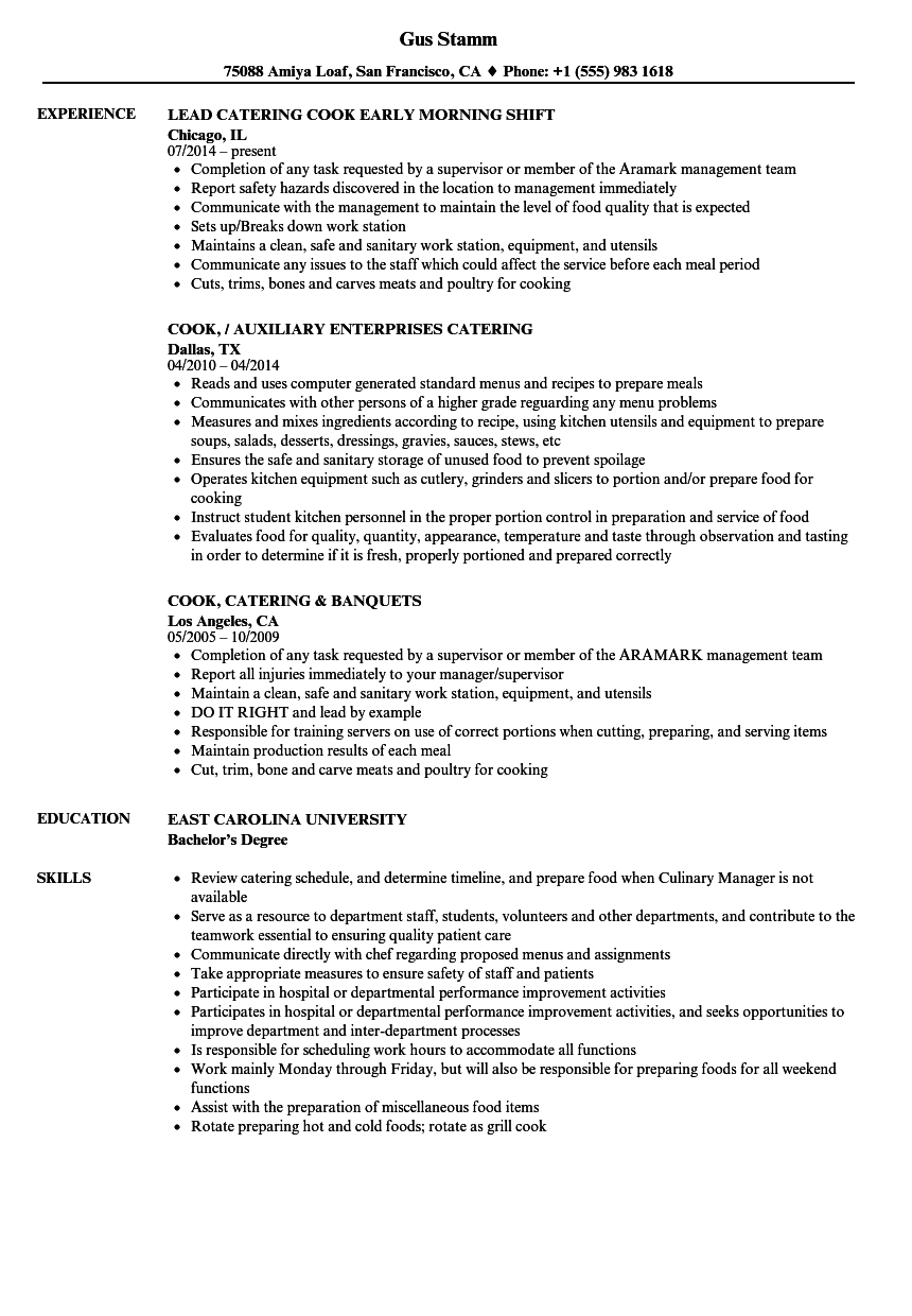 sample resume cook helper