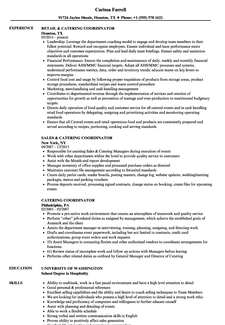 Catering Coordinator Resume Samples Velvet Jobs