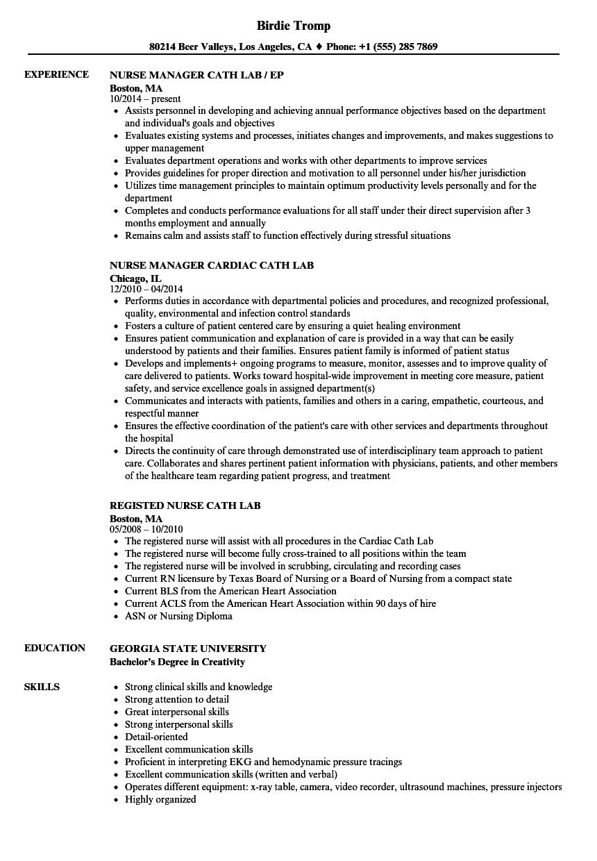 cath lab nurse resume sample