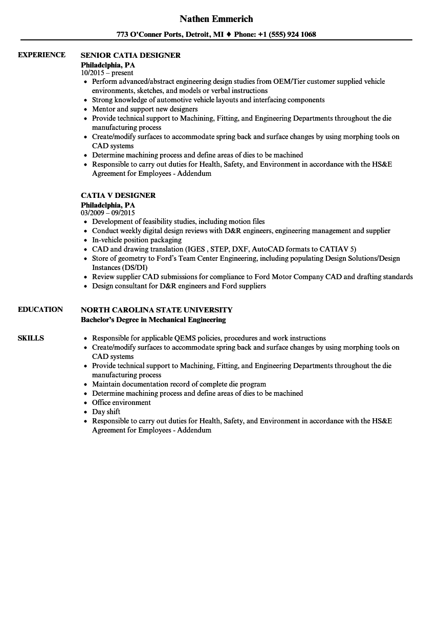 Catia Designer Resume Samples Velvet Jobs