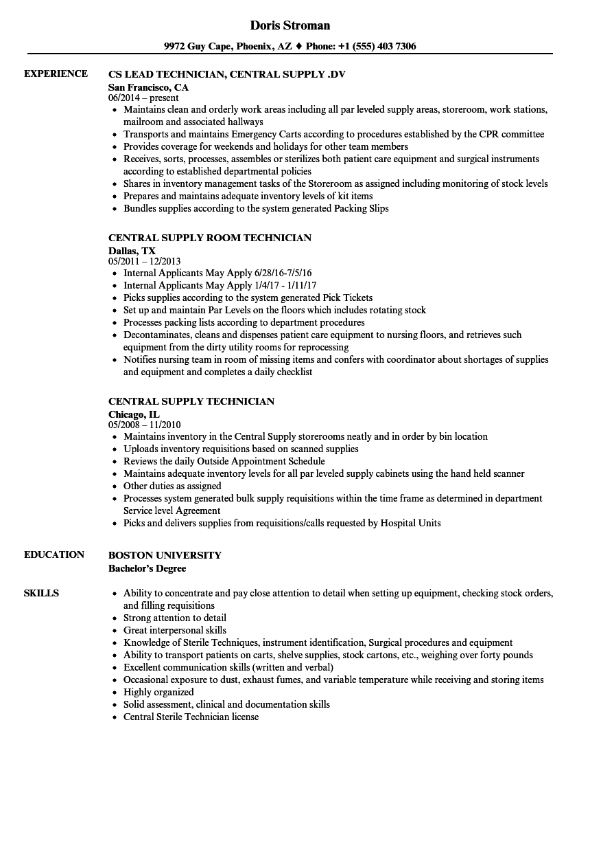 central service technician resume sample