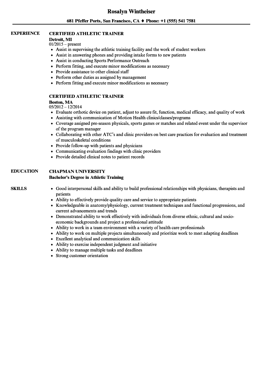 athletic trainer resume sample - April.onthemarch.co