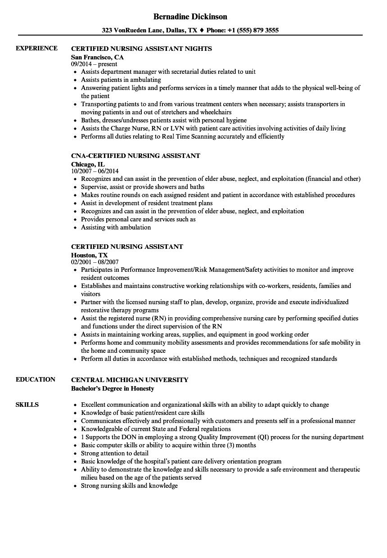 Certified Nursing Assistant Resume Samples Velvet Jobs