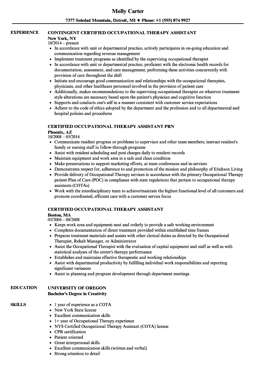 sample occupational therapy assistant resume entry level
