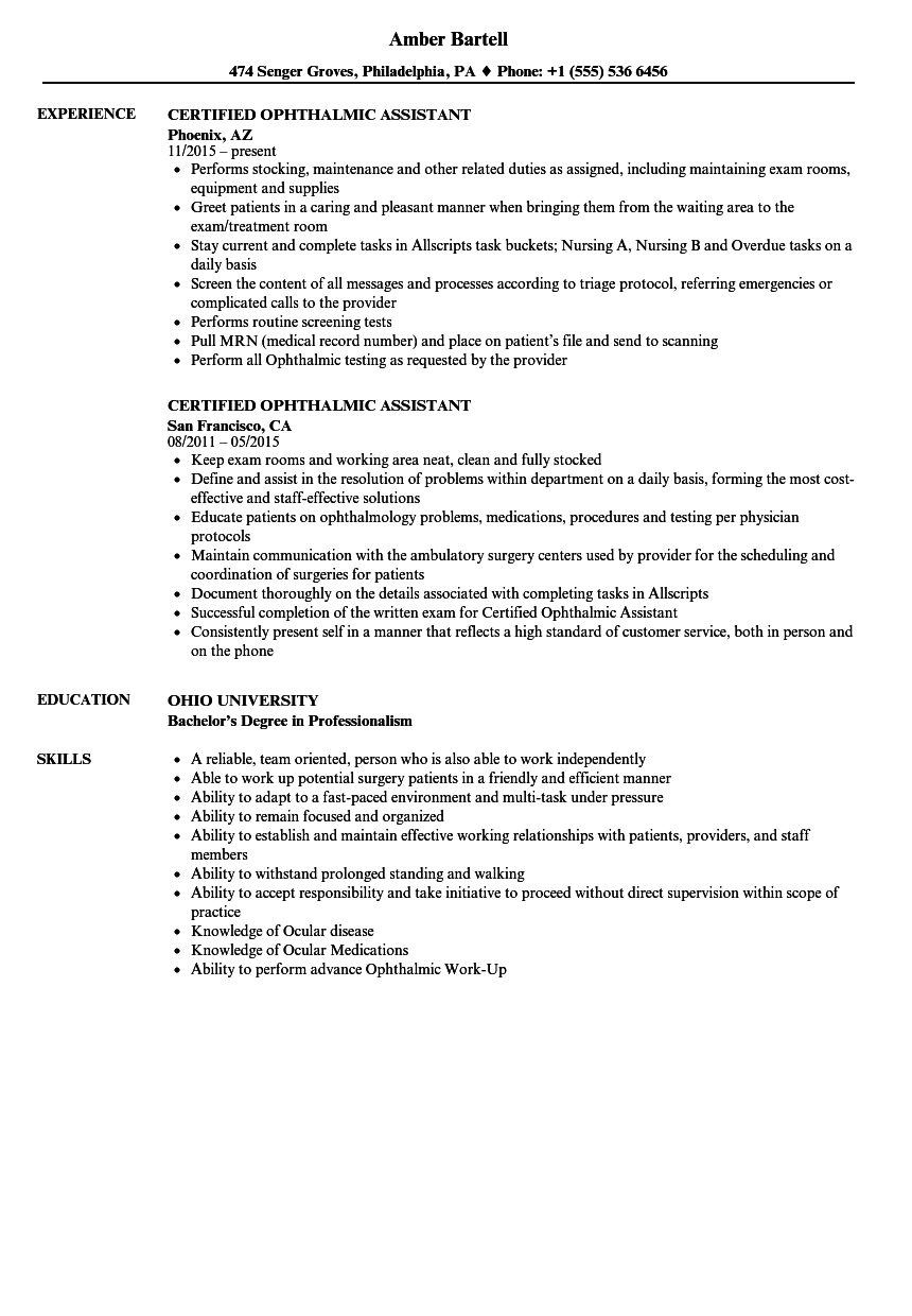 Certified Ophthalmic Assistant Resume Samples Velvet Jobs