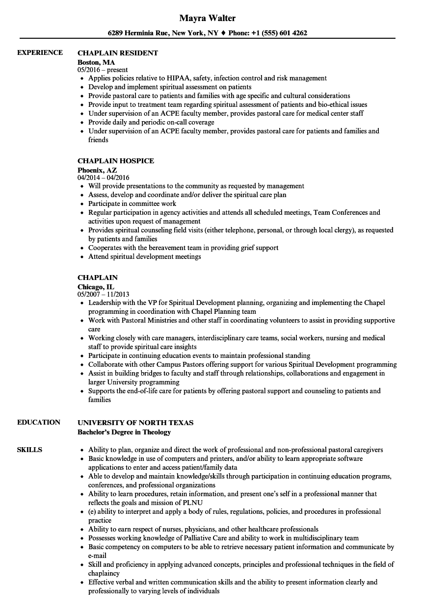 Download Chaplain Resume Sample As Image File