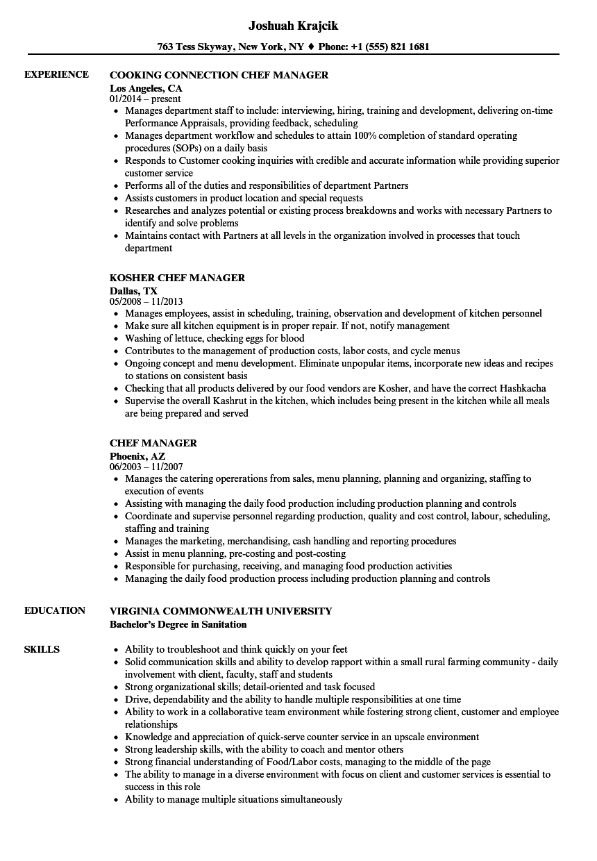 Chef Manager Resume Samples Velvet Jobs