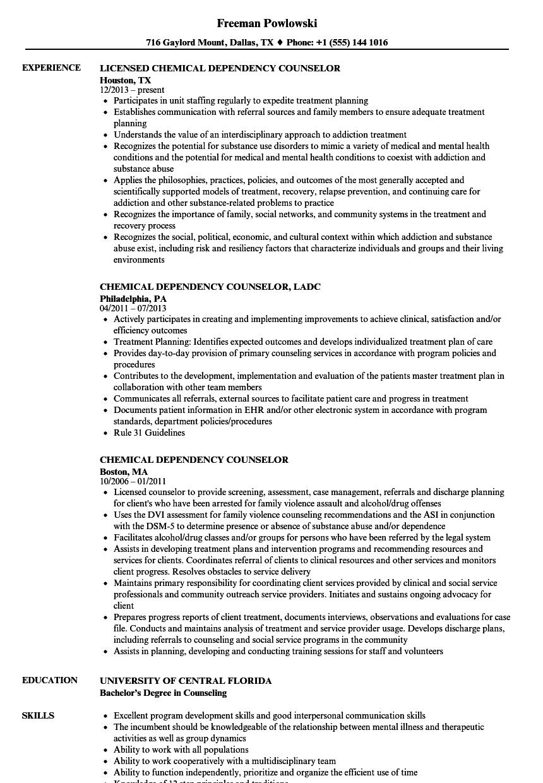 Chemical Dependency Counselor Resume Samples  Velvet Jobs