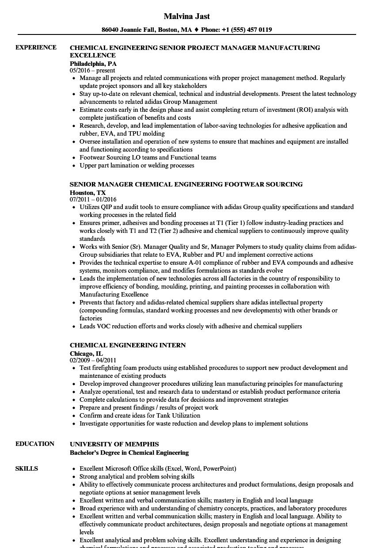 Chemical Resume Samples