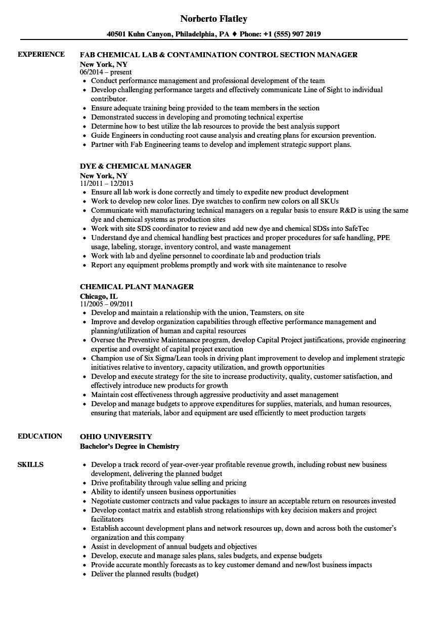 Chemical Process Operator Resume Sample
