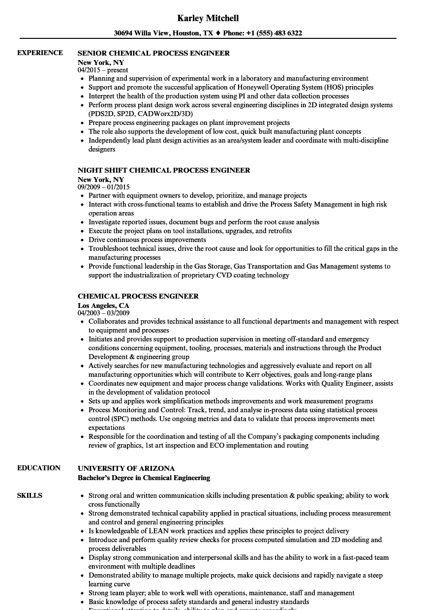 Curriculum Vitae Sample For Chemical Engineer  Chemical Engineering Resume