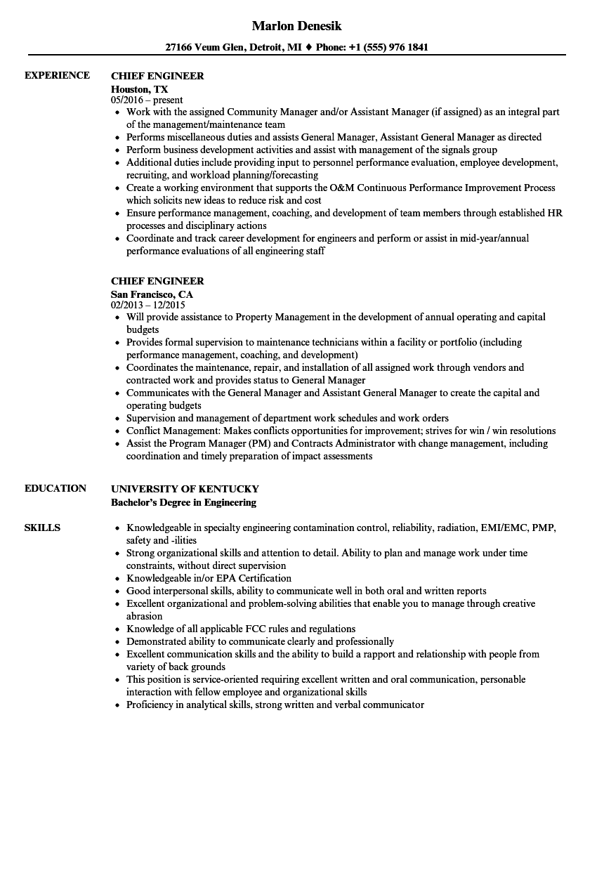 chief software engineer resume sample