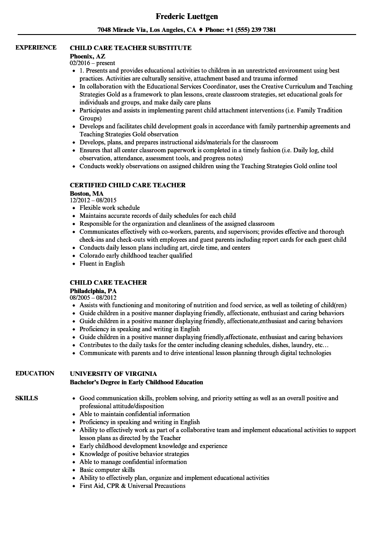 example resume for day care teacher