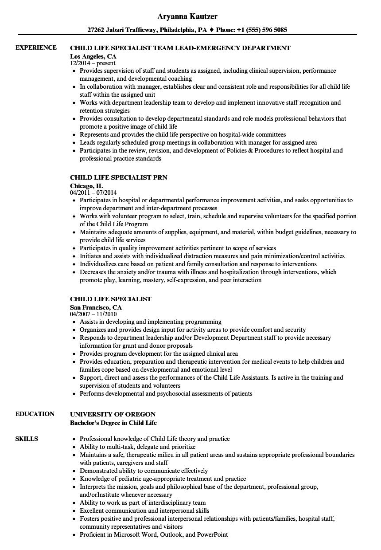 child life internship resume sample