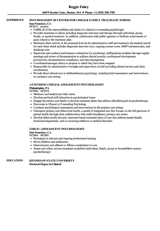 child psychology resume examples