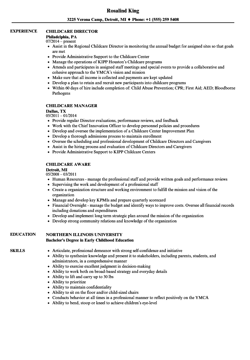 daycare volunteer resume examples