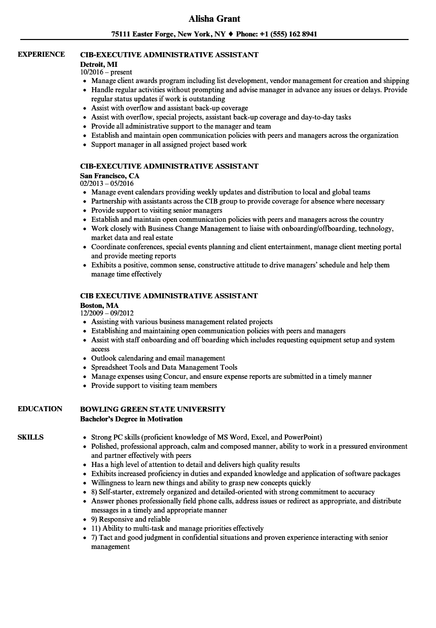 Gallery of Cib Executive Administrative Assistant Resume Samples ...