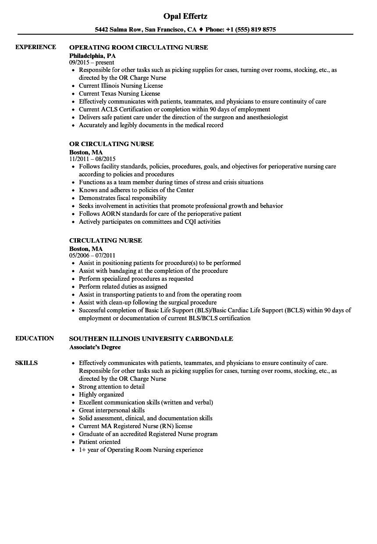 sample resume for circulating nurse