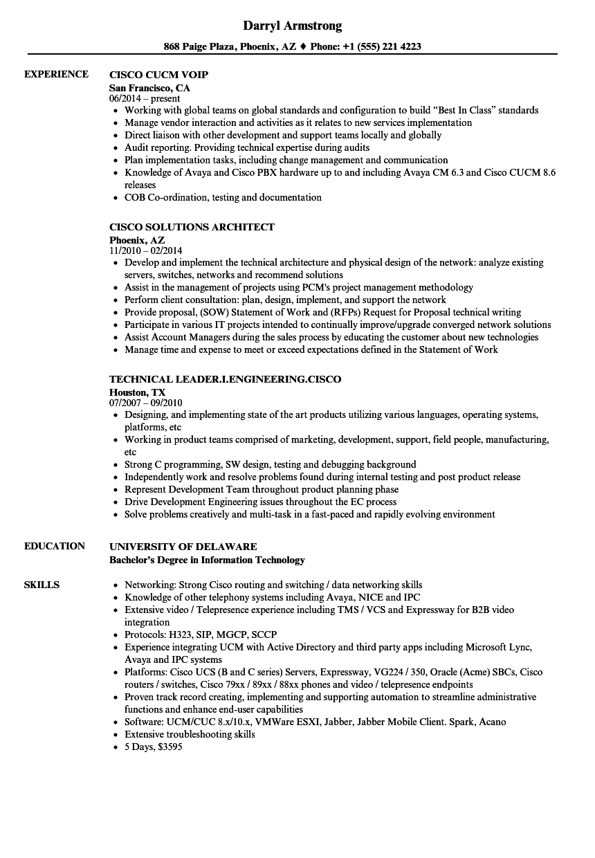 Cisco Resume Samples Velvet Jobs