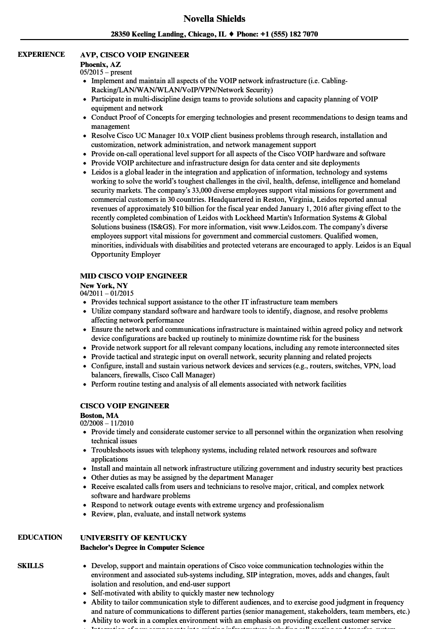 voip resume sample