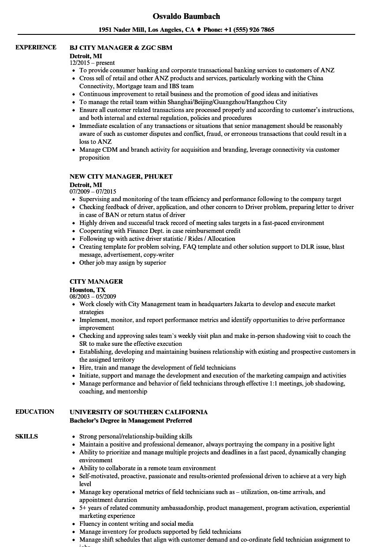 city administrator resume sample