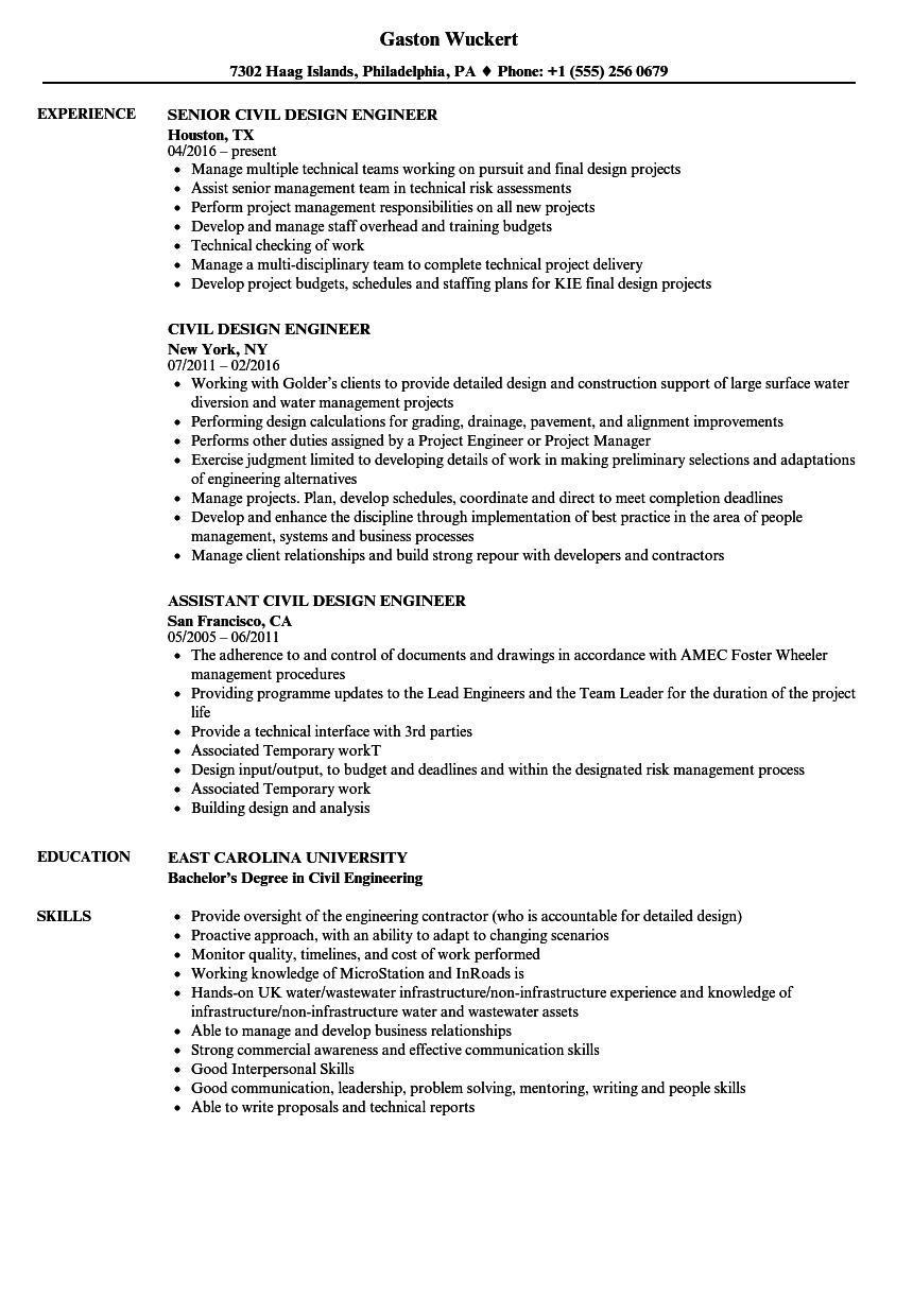 hight resolution of download civil design engineer resume sample as image file