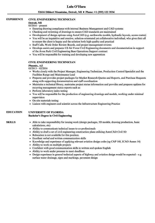 Download Civil Engineering Technician Resume Sample As Image File