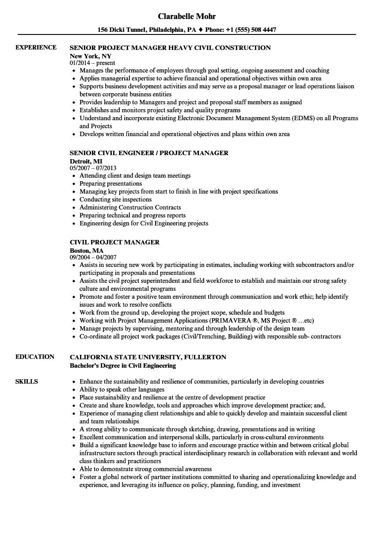 Civil Project Manager Resume Samples  Velvet Jobs