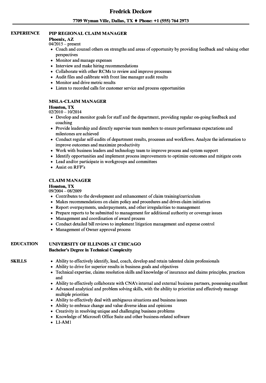 Claim Manager Resume Samples Velvet Jobs