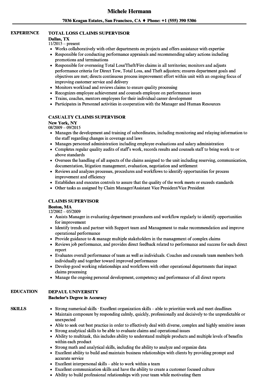 Claims Supervisor Resume Samples Velvet Jobs