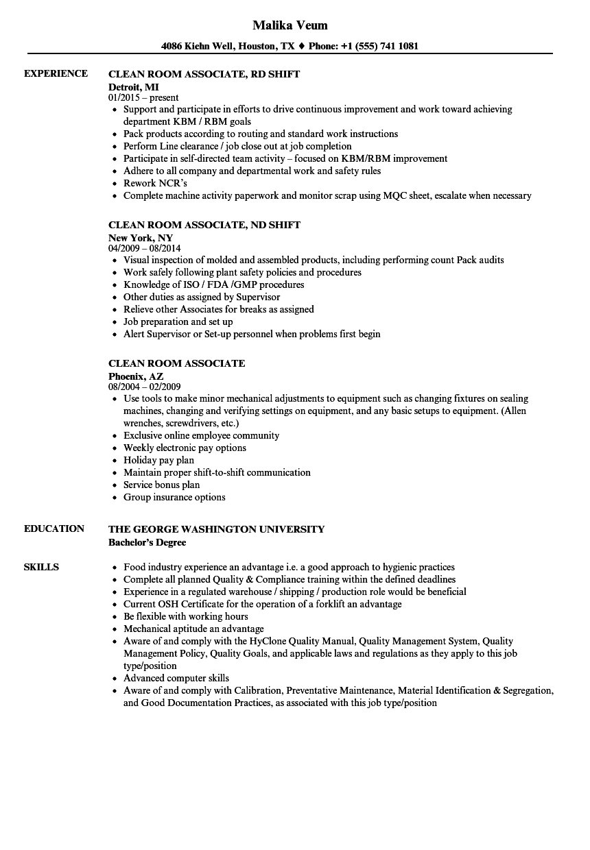 Download Clean Room Resume Sample As Image File