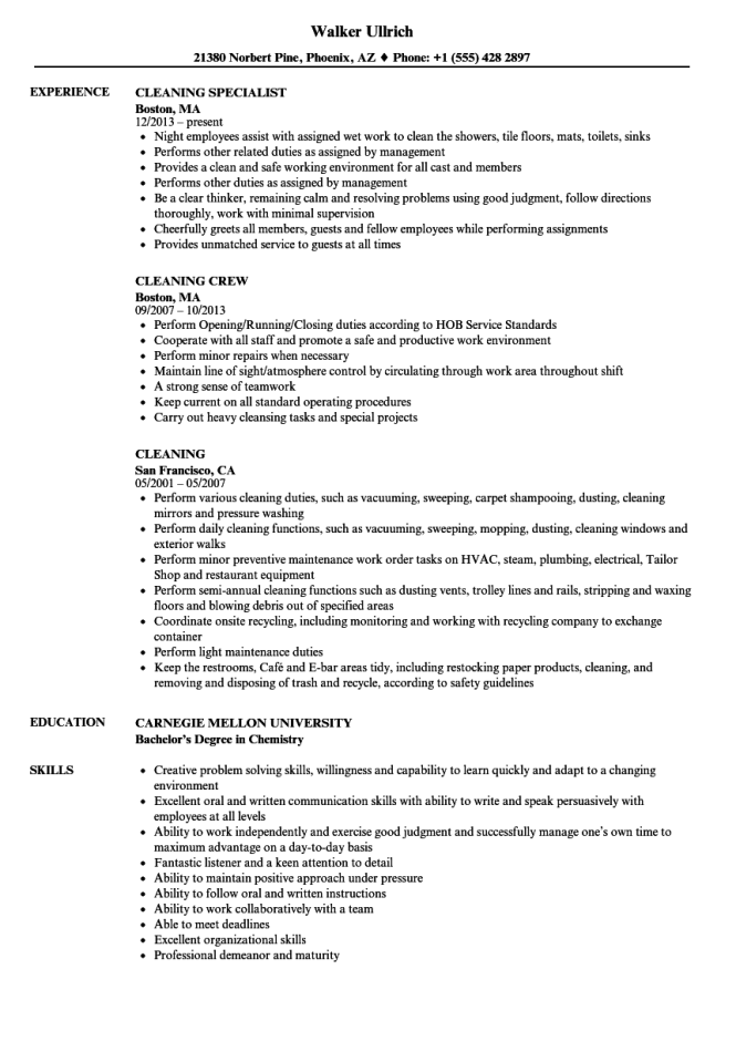 resume samples for cleaning job