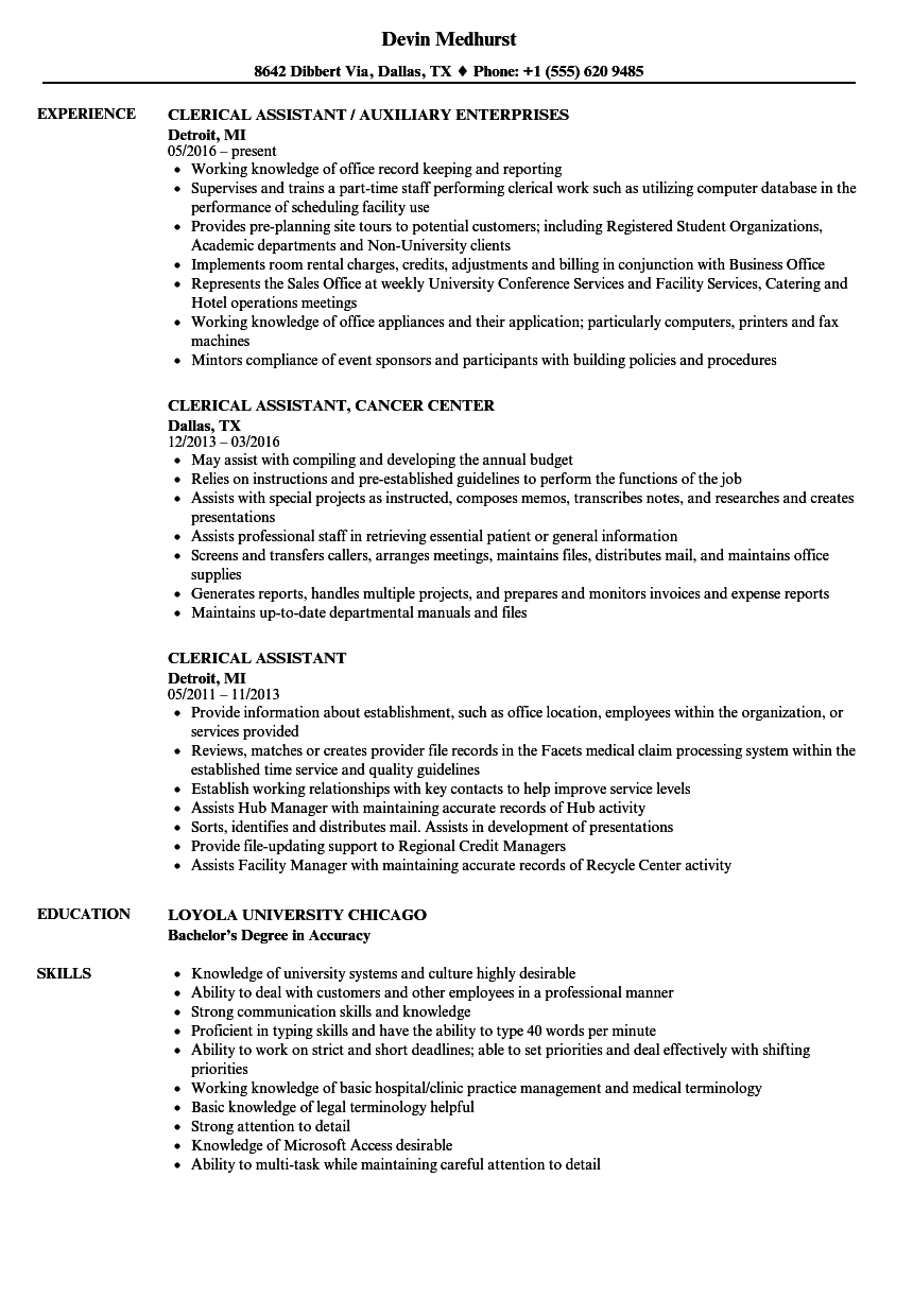 clerical assistant resume template
