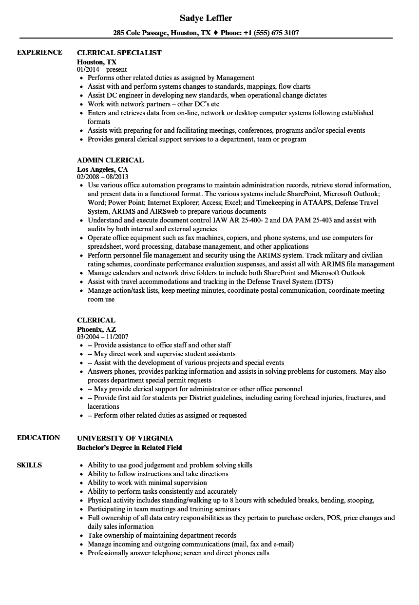clerical resume examples and samples
