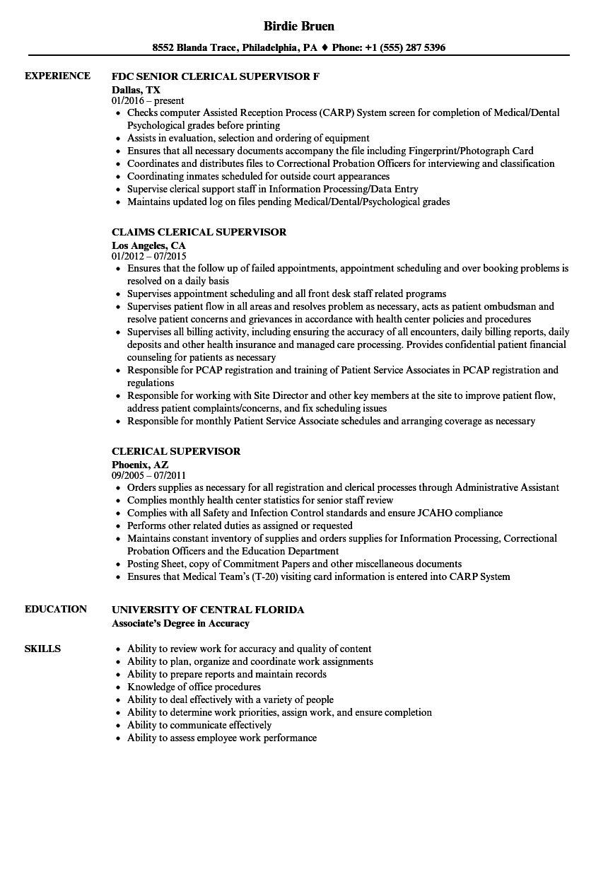 Clerical Supervisor Resume Samples Velvet Jobs