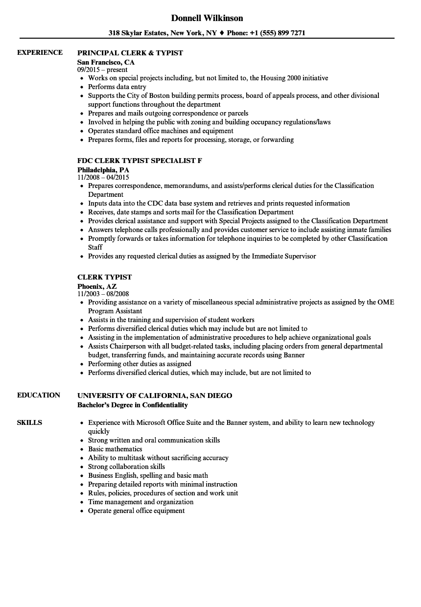 Clerical Office Resume Skills ] | Office Clerical Skills Resume