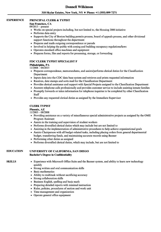 Clerk Typist Resume Samples | Velvet Jobs