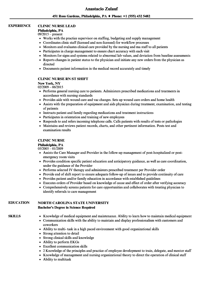 Clinic Nurse Resume Samples Velvet Jobs