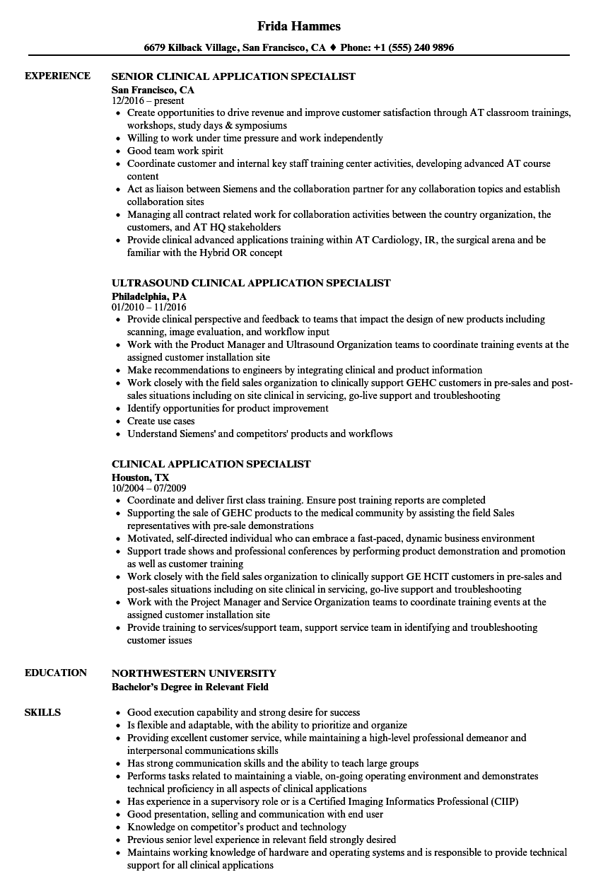 Clinical Application Specialist Resume Samples Velvet Jobs