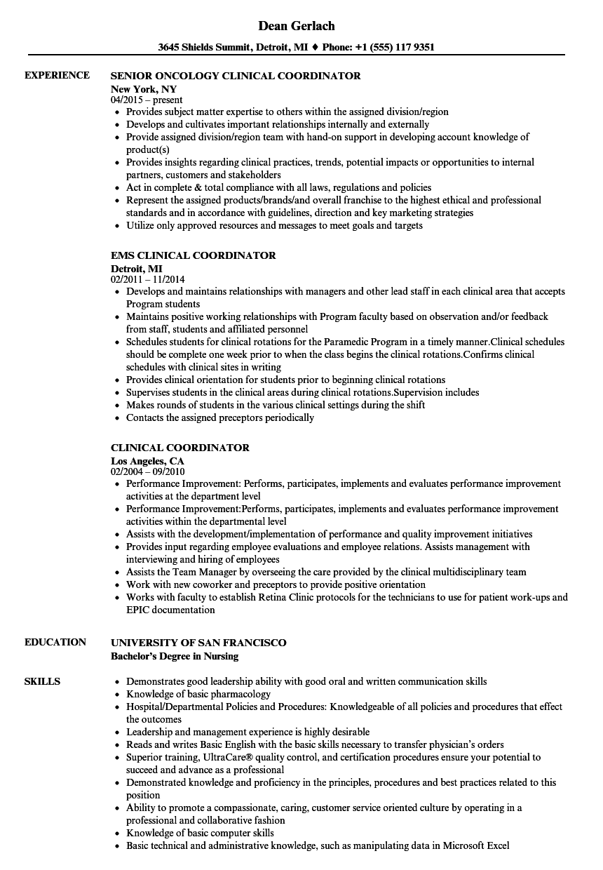Download Clinical Coordinator Resume Sample As Image File