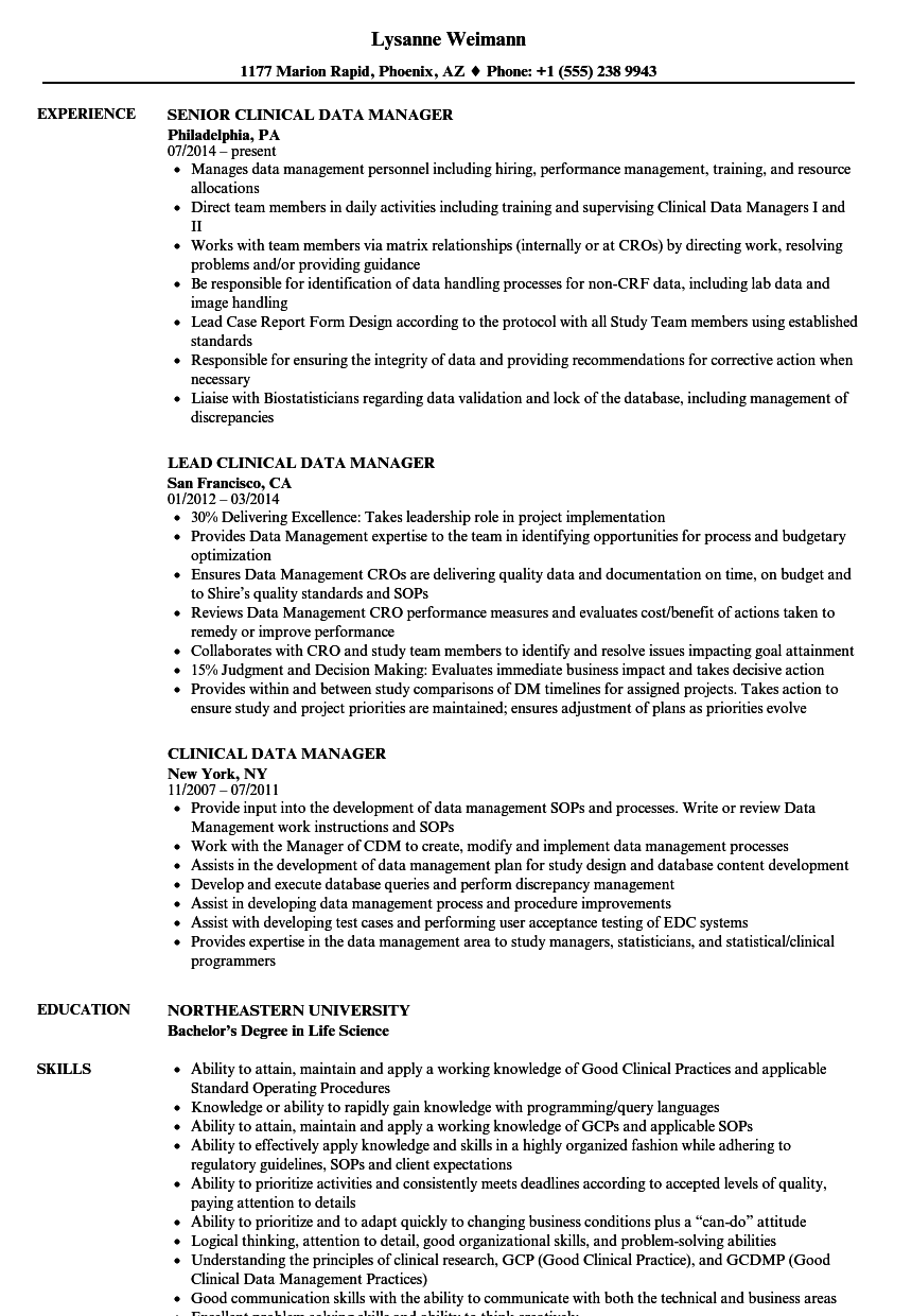 Clinical Data Manager Resume Samples Velvet Jobs