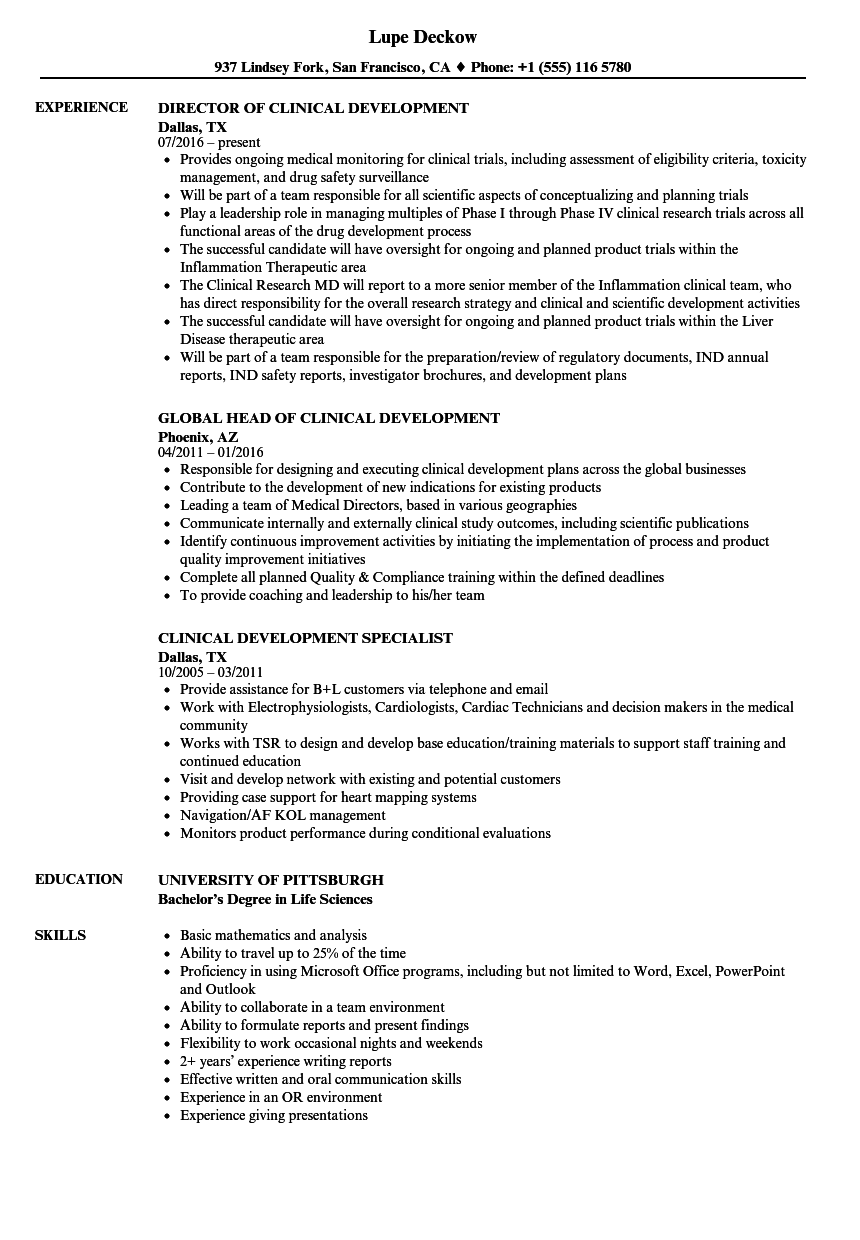 Download Clinical Development Resume Sample As Image File