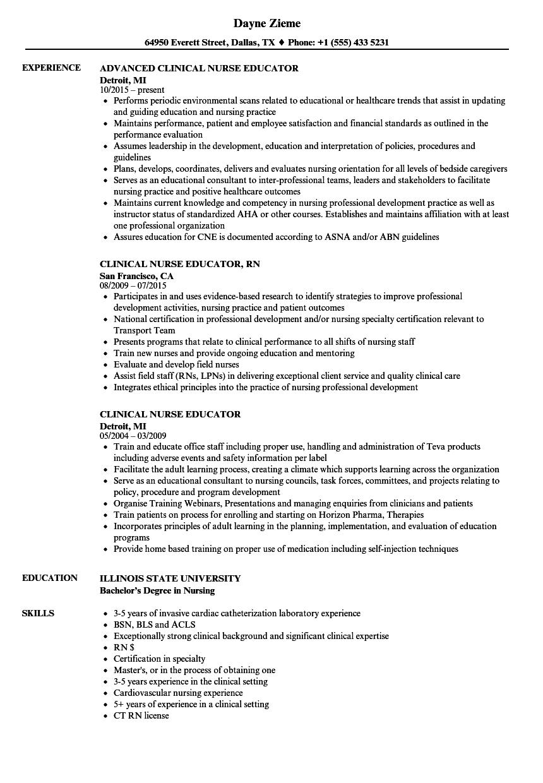 Curriculum Vitae Sample Nurse Educator Nurse Educator CV