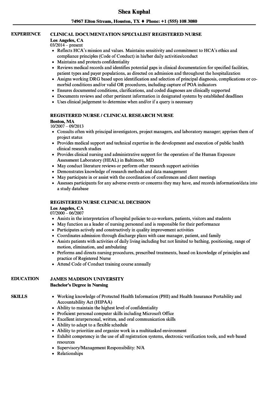 Download Clinical Nurse, / Registered Nurse Resume Sample As Image File
