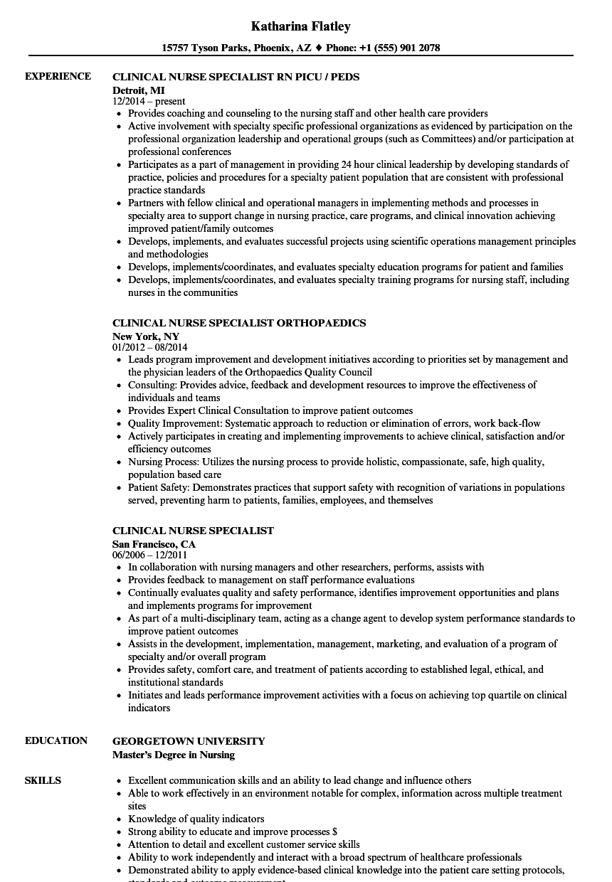 Download Clinical Nurse Specialist Resume Sample As Image File