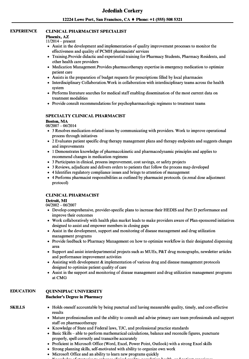 Clinical Pharmacist Resume Samples  Velvet Jobs