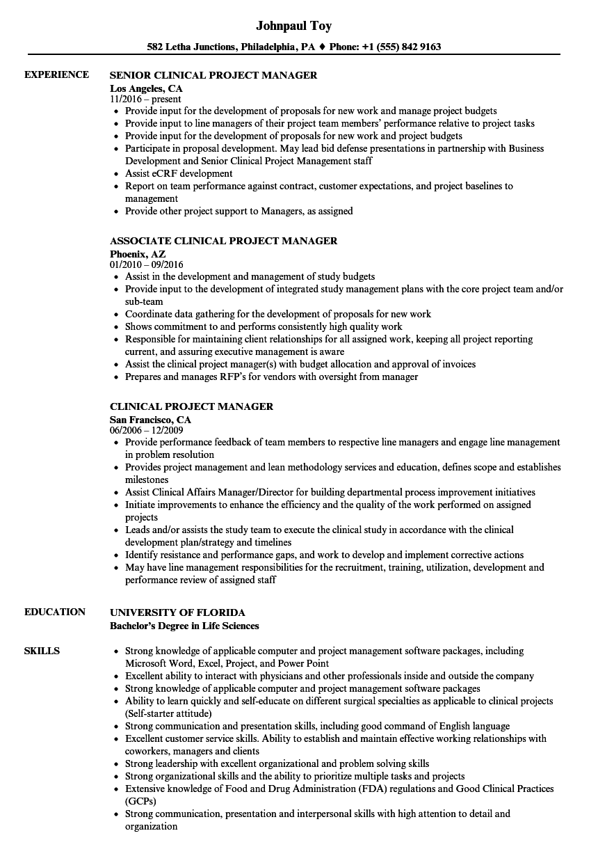 Clinical Project Manager Resume Samples  Velvet Jobs