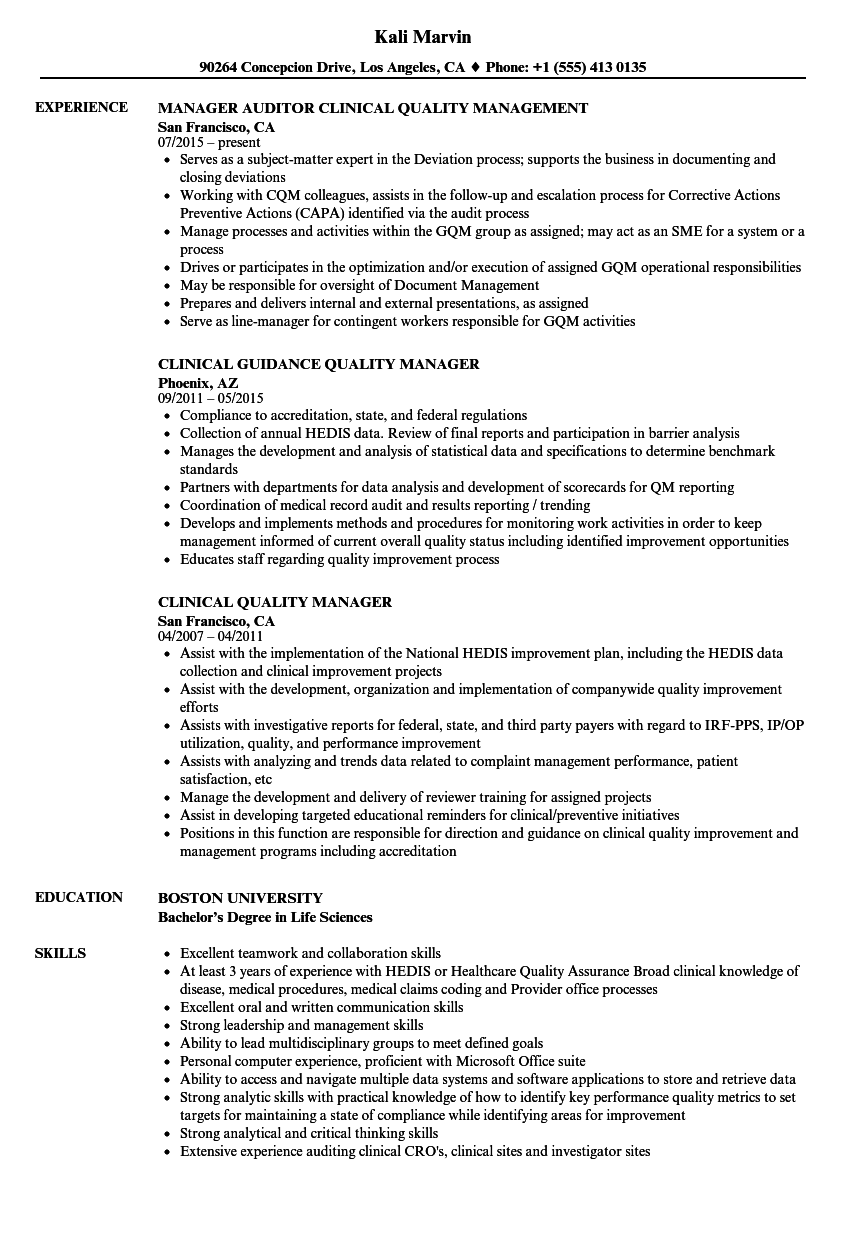 Clinical Quality Manager Resume Samples Velvet Jobs